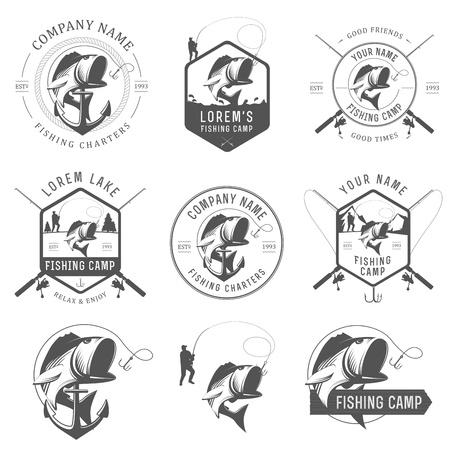 pescador: Conjunto de etiquetas de pesca antiguos, insignias y elementos de dise�o