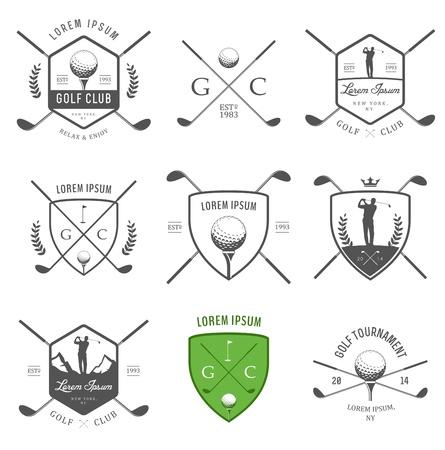 klubok: Állítsa be a vintage golf címkék, jelvények, emblémák