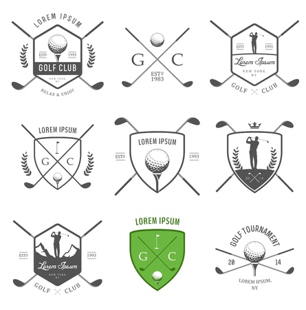 Set of vintage golf labels, badges and emblems Vector