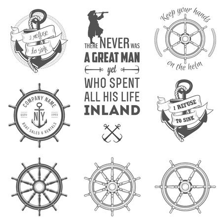 marinero: Conjunto de etiquetas de la vendimia n�uticas, iconos y elementos de dise�o