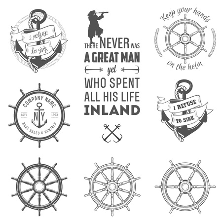 steering: Set of vintage nautical labels, icons and design elements