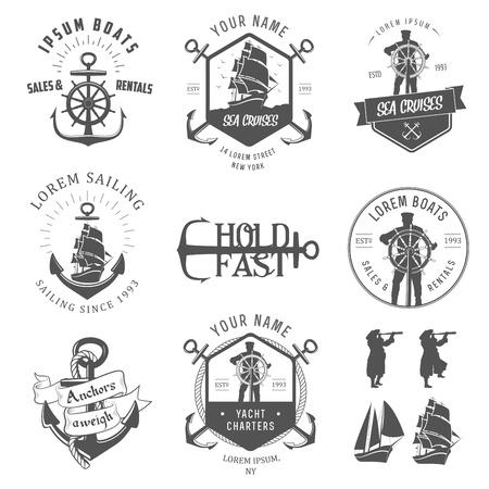 barca a vela: Set di etichette nautica d'epoca, icone ed elementi di design