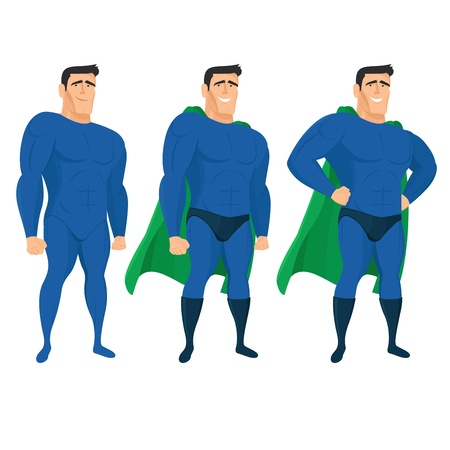 Funny superhero mascot in different poses. Vector