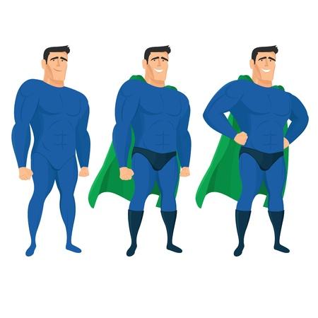 Grappige superheld mascotte in verschillende poses.