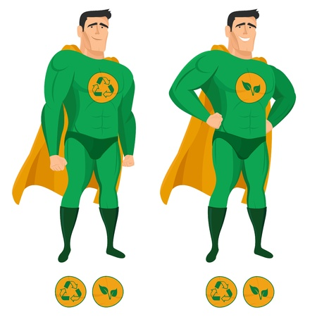 ecology emblem: Recycle superhero in green uniform with a cape Illustration