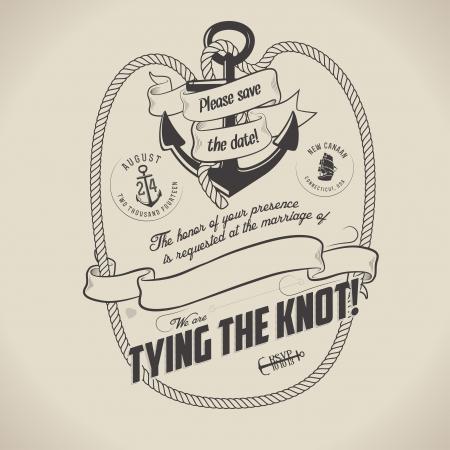 Vintage nautische thema bruiloft uitnodiging met plaats voor tekst