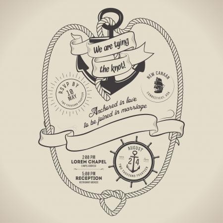 sailor: Vintage n�utico invitaci�n tem�tica de la boda con el lugar para el texto