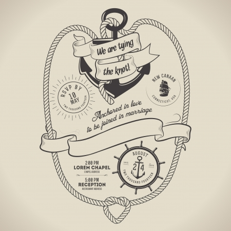 Vintage nautical themed wedding invitation with place for text Illustration