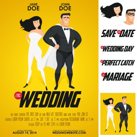 save the date: Funny heroes movie poster wedding invitation Illustration