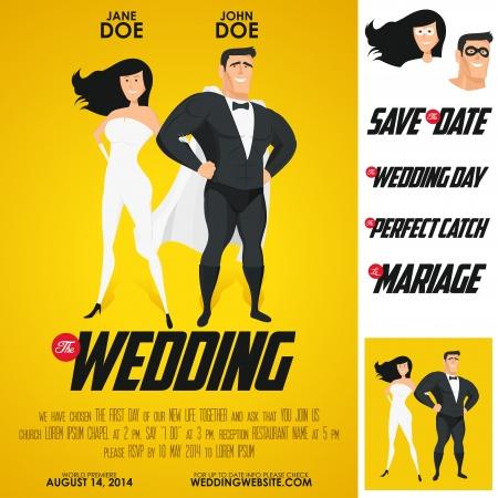 Héroes película divertida cartel de invitación de boda Foto de archivo - 18816682
