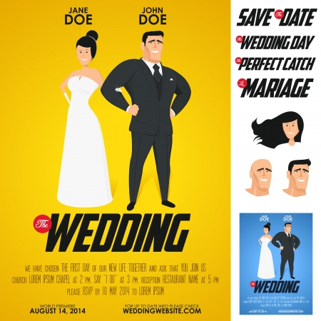 romantic date: Funny glossy movie poster wedding invitation