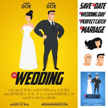 Lustige glänzend Filmplakat Hochzeitseinladung Vektorgrafik