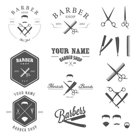 парикмахер: Набор старинных этикеток магазин парикмахера, значки и элементы дизайна