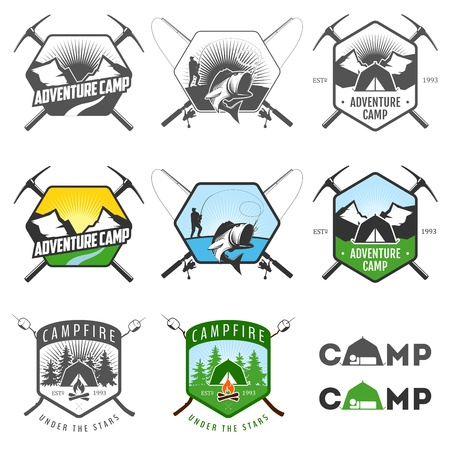 expeditions: Set of vintage camping labels and badges
