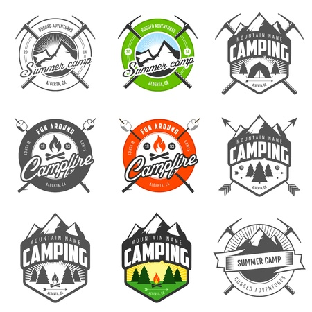 fish fire: Set of vintage camping labels and badges