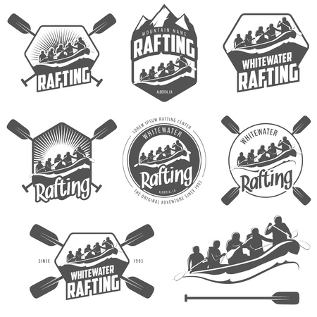 raft: Set of vintage whitewater rafting labels and badges Illustration