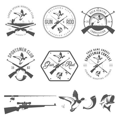 mallard: Juego de caza y pesca etiquetas de época y elementos de diseño Vectores