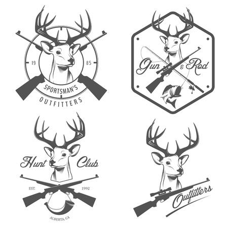 Set di etichette e distintivi di caccia e pesca d'epoca