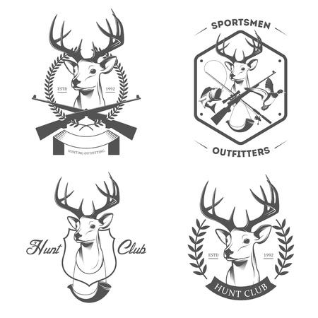 оленьи рога: Набор старинных этикеток охоты и рыбалки и значки