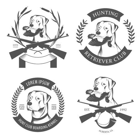 perro de caza: Juego de caza retriever logotipos, etiquetas y escudos Vectores