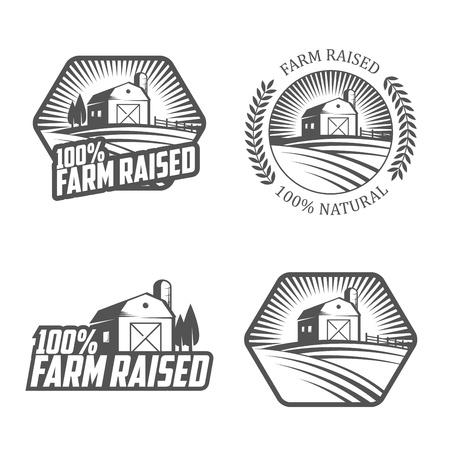 Boerderij verhoogd etiketten en insignes