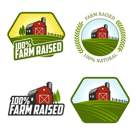 Set of farm raised labels and badges Illustration