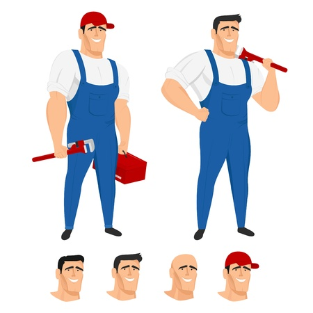 Funny plumber mascot in different poses Ilustracja