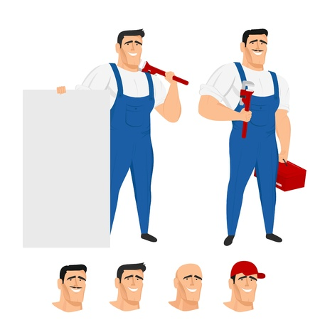 handyman cartoon: Funny plumber mascot in different poses Illustration