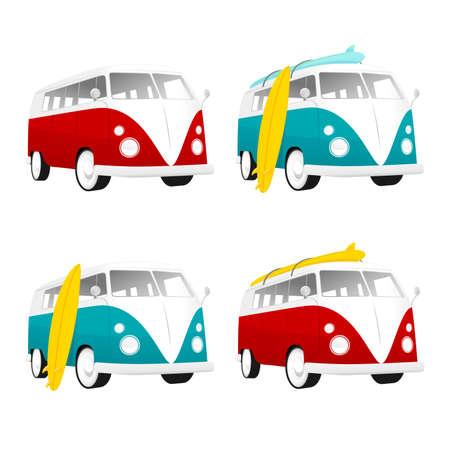 surf board: Vintage camper bus van con tablas de surf