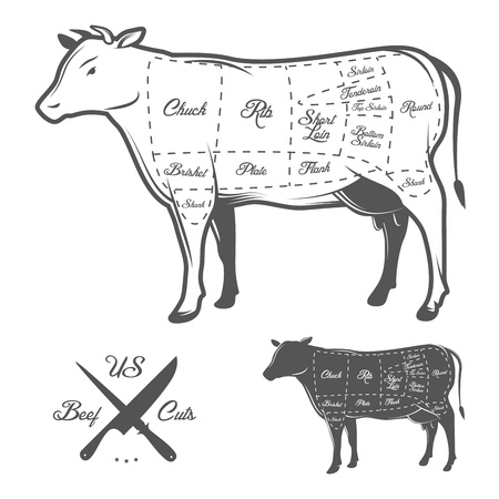 steak beef: American cuts of beef Illustration