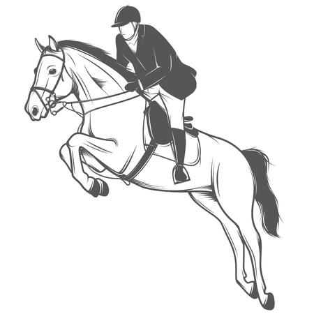 uomo a cavallo: Sport equestri, fantino su un cavallo che salta Vettoriali