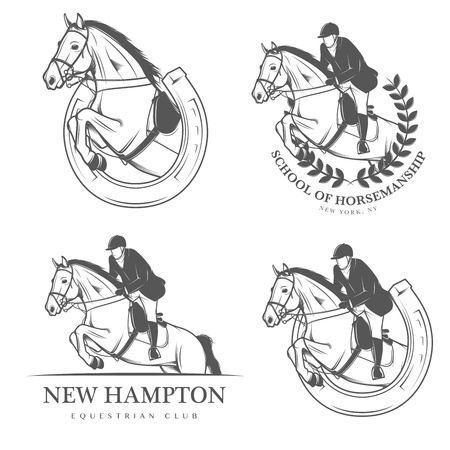 riding: Set of vintage equestrian labels and badges