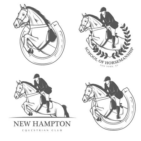 Set van vintage paardensport etiketten en insignes