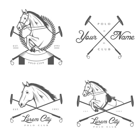 equestrian sport: Set of vintage horse polo club labels and badges
