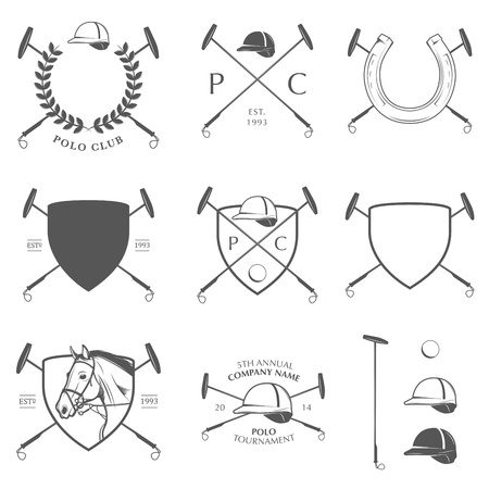 Set of vintage horse polo labels, badges and design elements