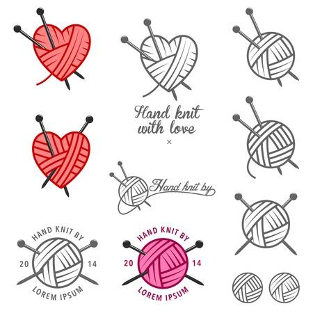 Conjunto de etiquetas tejidas a mano, insignias y elementos de diseño Ilustración de vector