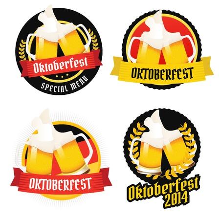 deutchland: Set of Oktoberfest labels, badges and menu elements Illustration