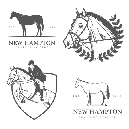 equestrian sport: Set of equestrian stables labels and badges Illustration