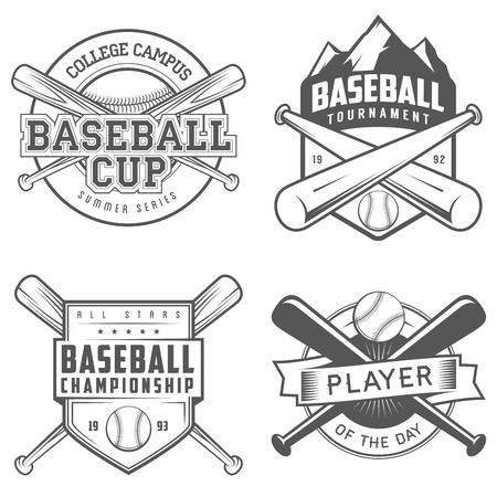 murcielago: Conjunto de etiquetas del béisbol de cosecha e insignias