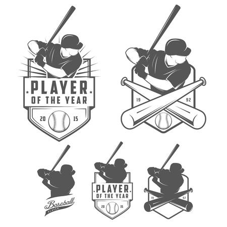 beisbol: Conjunto de etiquetas del b�isbol de cosecha e insignias