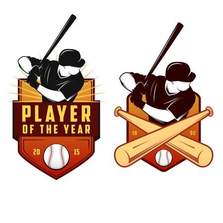 softball: Set of vintage baseball labels and badges
