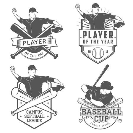 ビンテージの野球およびソフトボールのラベルおよびバッジのセット