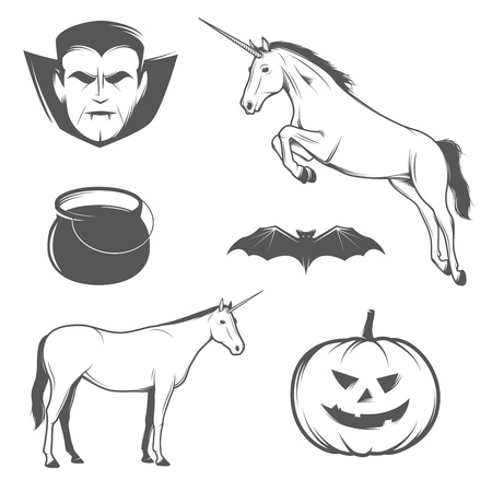 Set of vintage halloween characters and design elements  Vector