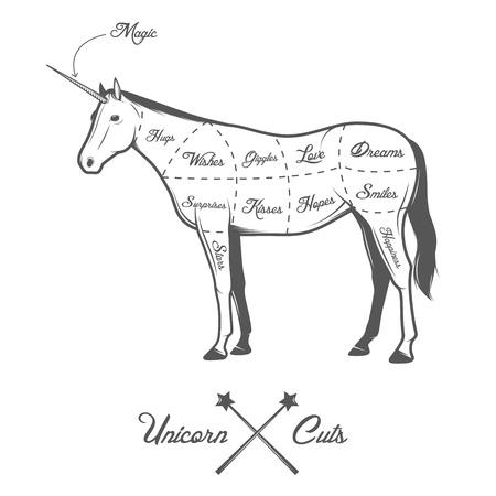 Funny Halloween cuts of unicorn diagram Vector