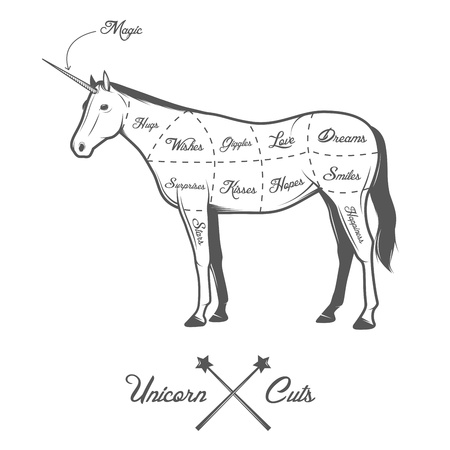 cuts: Funny Halloween cuts of unicorn diagram