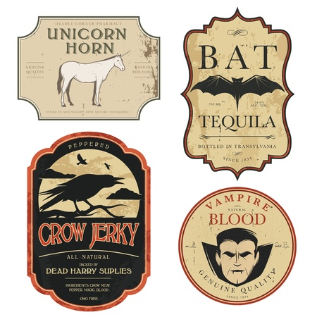 Grappige vintage gekleurde potion labels Halloween Stock Illustratie