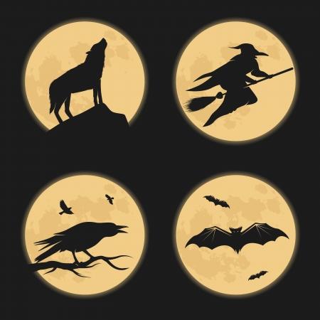 cuervo: Caracteres de Halloween luna siluetas