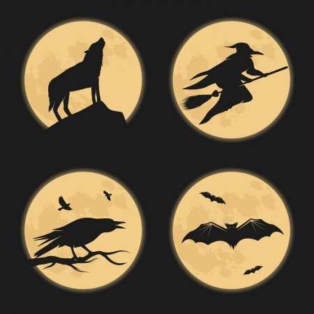 Halloween characters moonlight silhouettes Vector