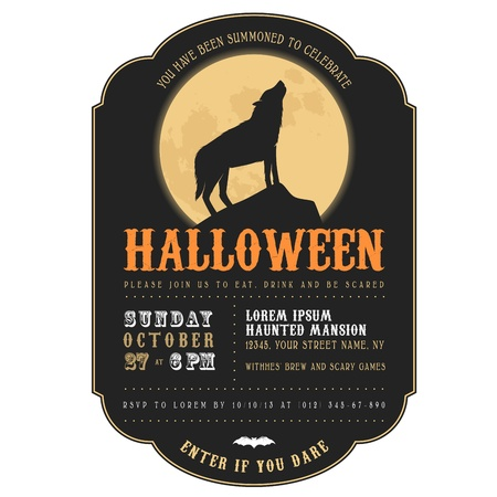 moonrise: Vintage Halloween invitation with howling werewolf