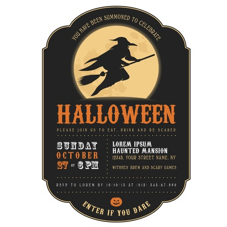 escoba: Invitación de la vendimia de Halloween con la bruja volando en una escoba